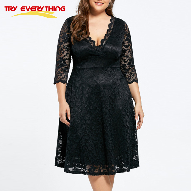 Tryeverything Black Lace Dress Plus Size Ladies 4xl 5xl Deep V Neck
