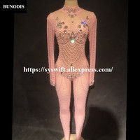 BU242 Women Sexy Pink Color Net Yarn Jumpsuit Glass Sparkling Crystals Pearls Bodysuit Nightclub Party Stage Wear Bling Clothing