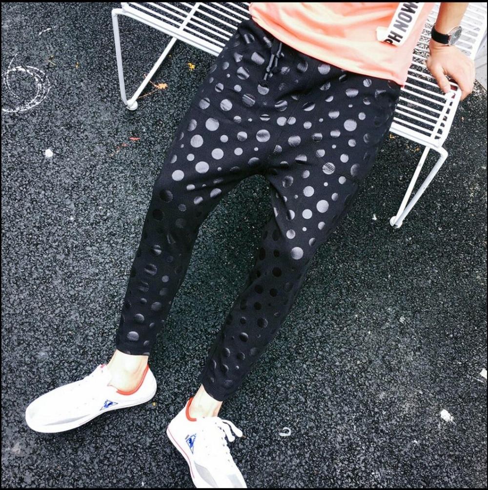 b17c5a32 Lato czarny cekiny dot spodnie drukowania dziewięć punktów spodnie ...