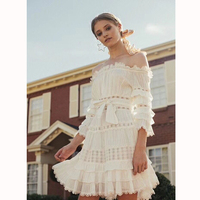 New sweet and beautiful temperament ~ a word collar hanging heavy work car folded cotton hollowed lace holiday dress