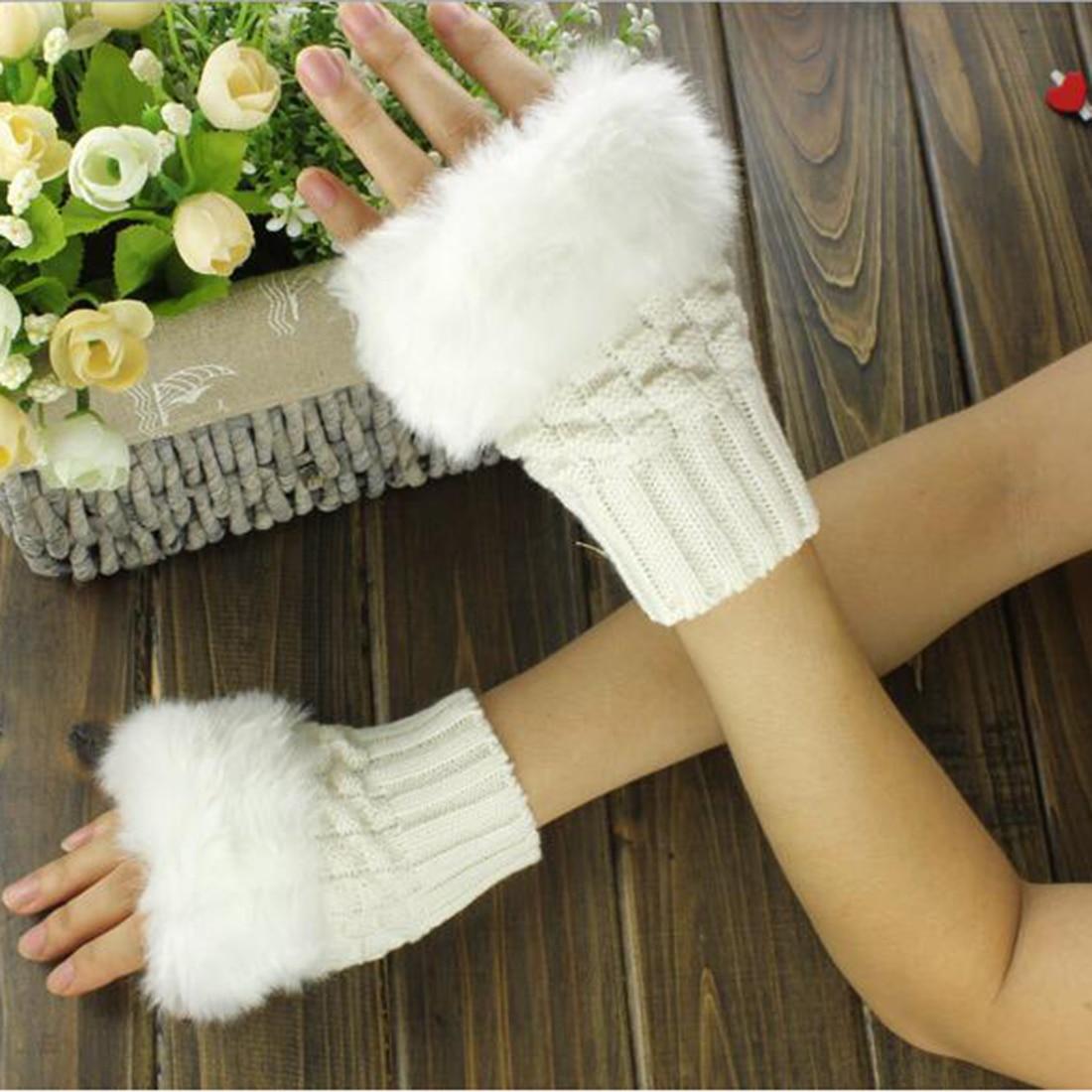2017 Fashion Women Fingerless Gloves Cute Faux Rabbit Fur Knitted Gloves Female Winter Knitting Warmer Wrist Hand Gloves Mitten in Women 39 s Gloves from Apparel Accessories