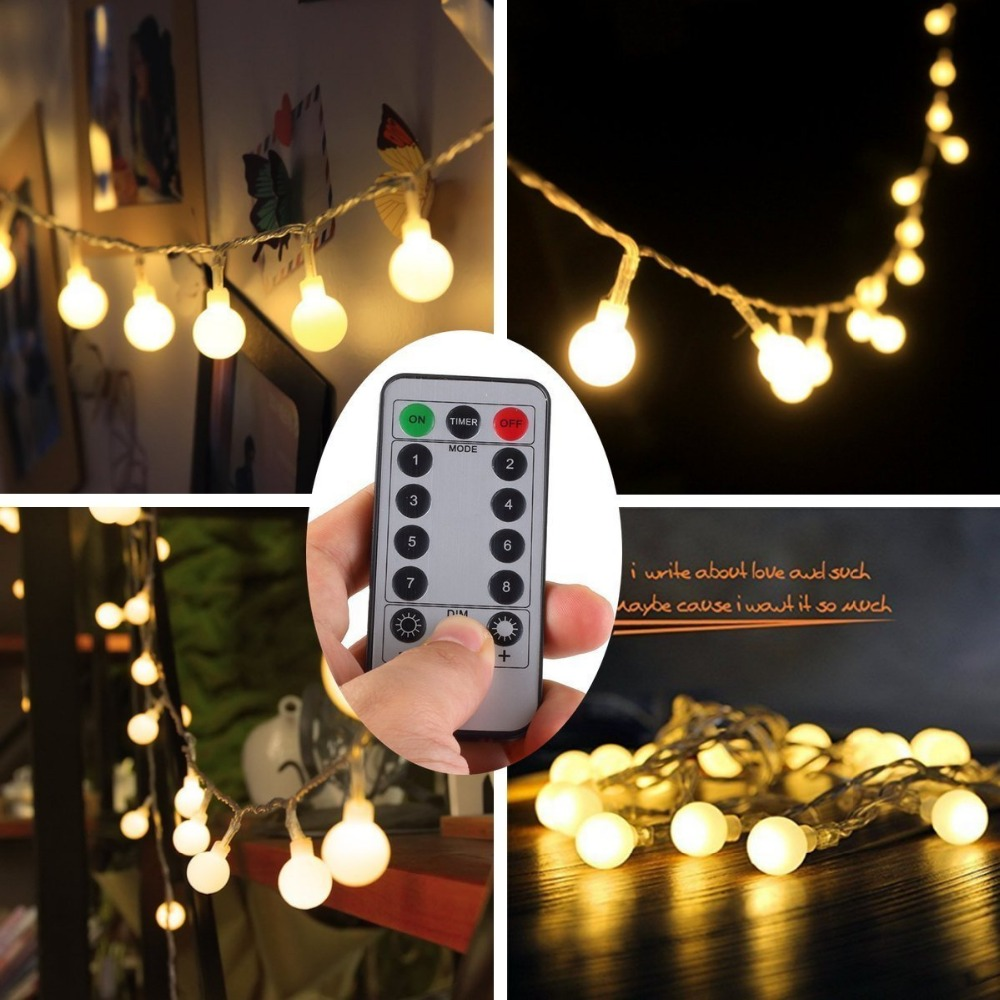 Fjernbetjening Vandtæt 5M 50 LED Outdoor Globe String Lights 8 - Ferie belysning - Foto 4