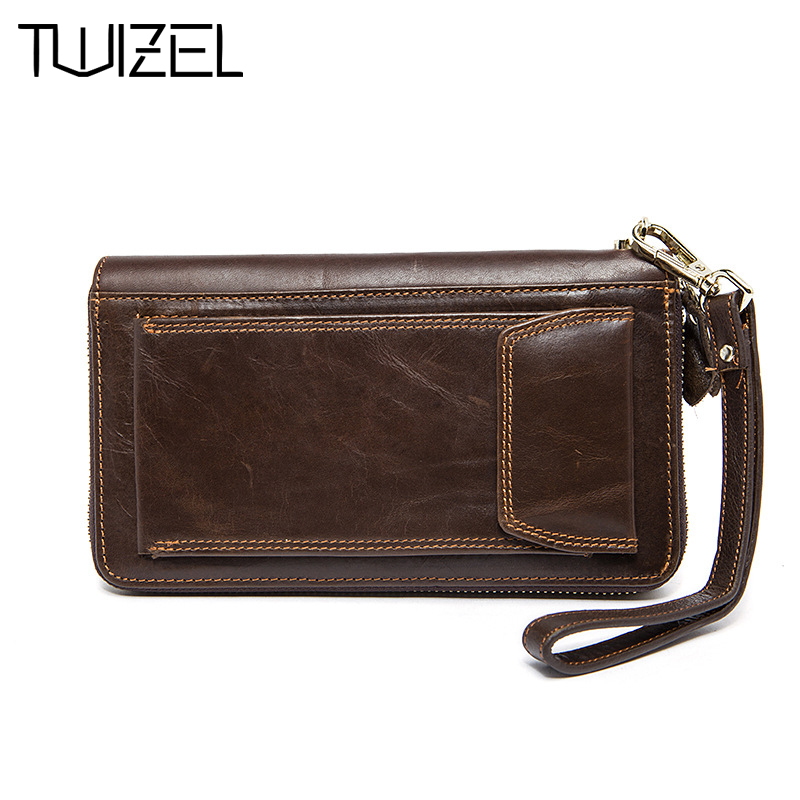 ФОТО Men Wallet Cow Genuine Leather Male Clutch Bag Vintage Long Zipper Wallets Coin Purse Phone Bag Card Holder TWIZEL HQB1845