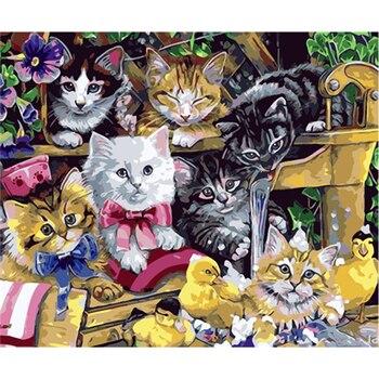 YIKEE الزخرفية قماش النفط الطلاء بواسطة أرقام ، الطلاء بواسطة عدد البالغين القط عش
