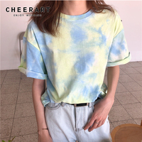 Cheerart Tie Dye T Shirt Women Summer Top Korean Clothes Casual Loose Tee Shirt Femme Ulzzang Top 2019