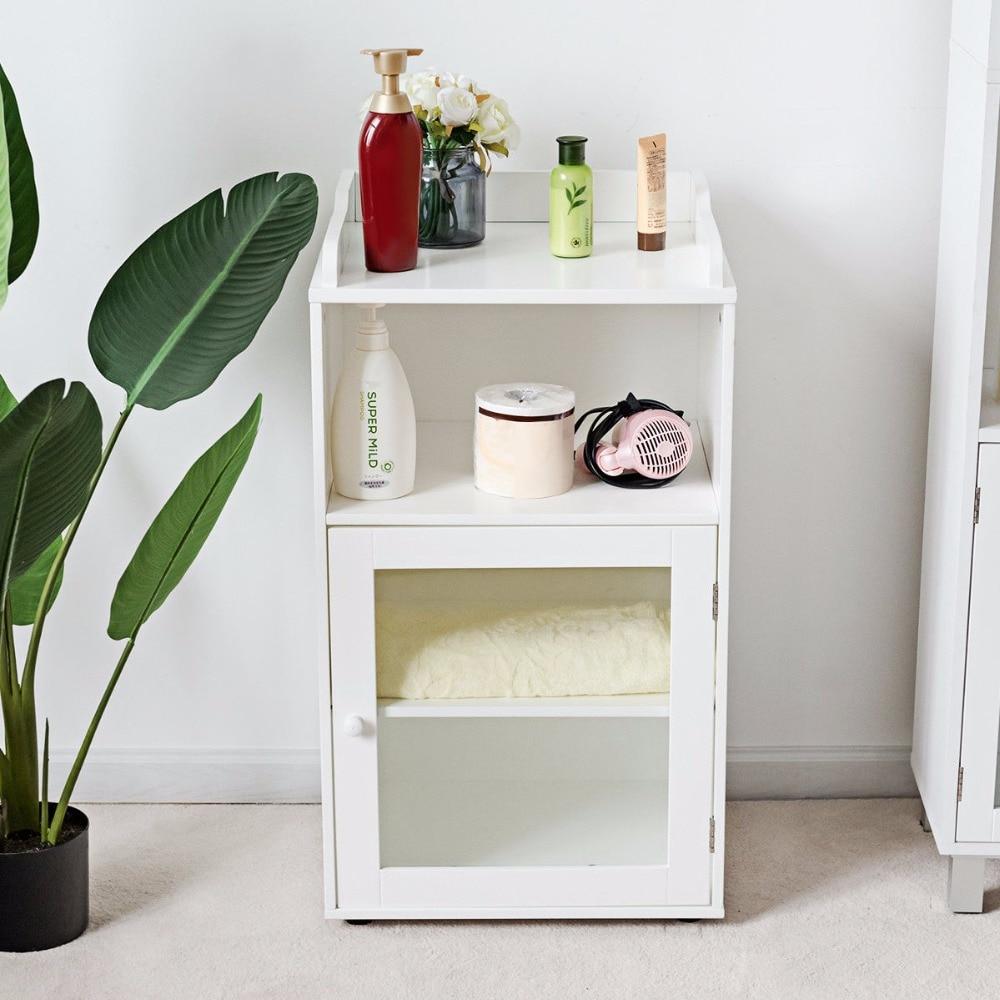 Giantex Bathroom Floor Cabinet End Table Storage Adjustable Shelf Organizer W/Door White HW59316 1
