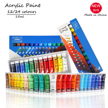 12/24 צבעים 15 ML אקריליק צבע סט צבע צבע עבור בד בגדי נייל זכוכית ציור ציור לילדים עמיד למים אמנות ספקי