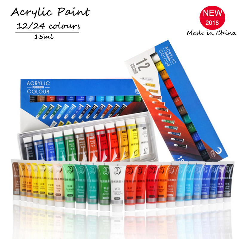 12/24 Colors 15ML Acrylic Paint Set Color Paint For Fabric Clothing Nail Glass Drawing Painting For Kids Waterproof Art Supplies