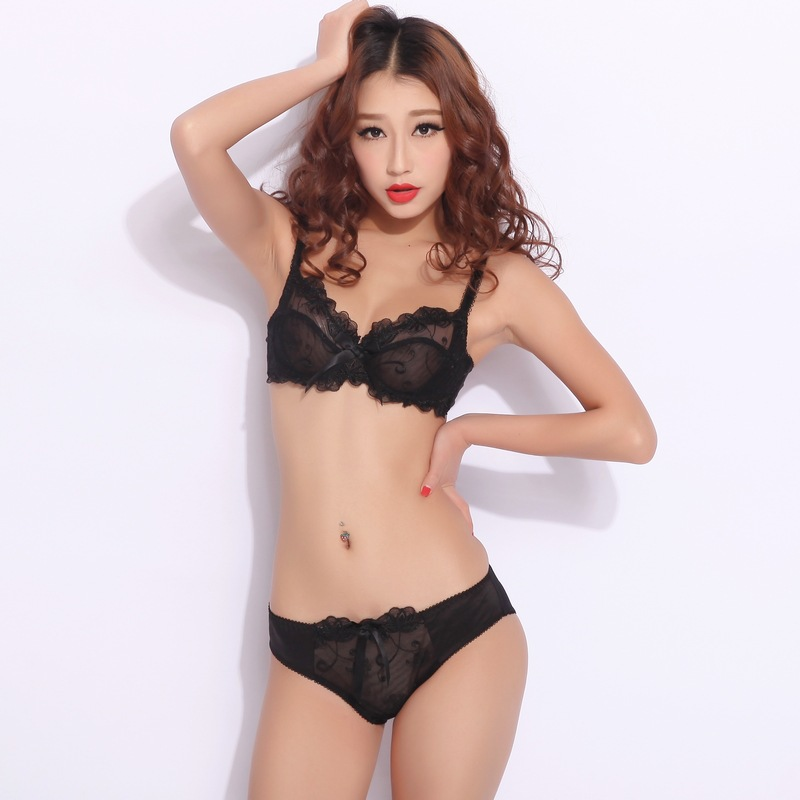 Underwear set transparent sexy lace bra set plus size Women gauze embroidery ultra-thin lingerie bra and panty set