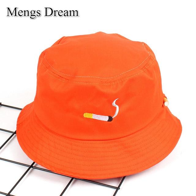 9d3c96b0631 Orange Hats for Girls Orange Panama Bucket Hats 2019 New Fashion Harajuku Snapback  Caps Cigarette Embroidery Hip Hop Bucket Caps