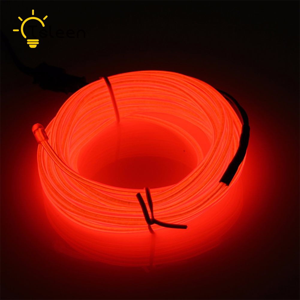 US $4 21 14% OFF|TSLEEN /2M/3M/5M Waterproof LED Strip Light Neon Light  Glow EL Wire Rope Tube Cable+Battery Controller For Car Decoration Party-in