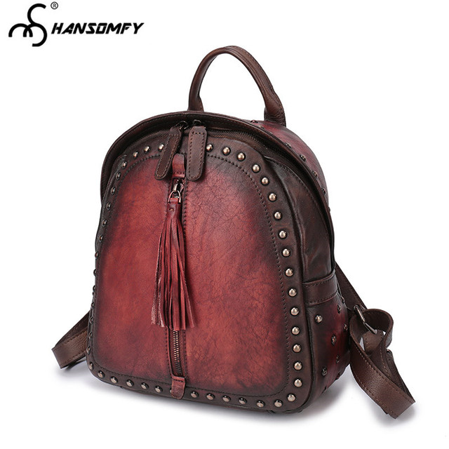 2017 new retro Women Backpacks fashion first layer leather Women shoulder bag female casual tide tide rivet leather backpack