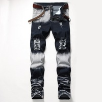 18 Design Models 2019 Spring New Mens Skinny Biker Jeans Denim Ripped Hole Stretch Trousers PLUS US SIZE 28 42