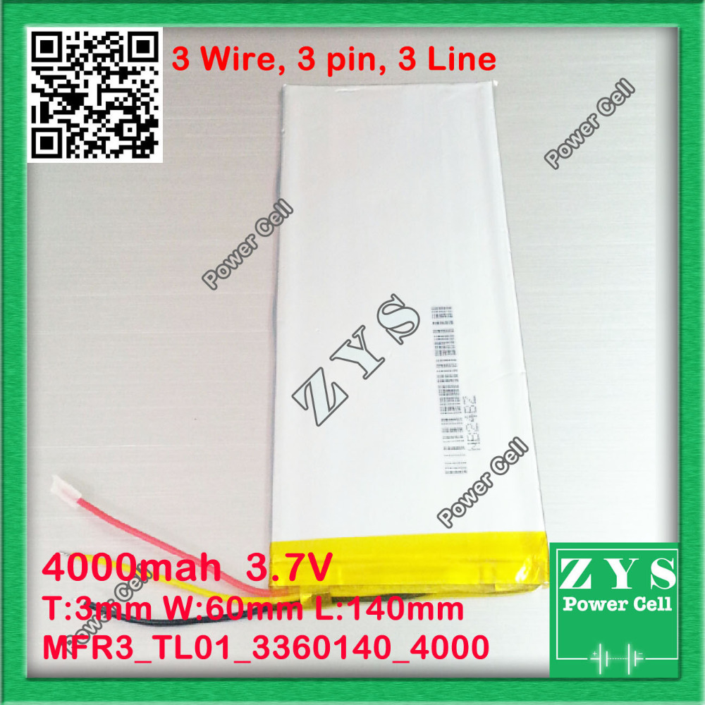 3 wire,<font><b>3.7V</b></font> <font><b>4000mAh</b></font> <font><b>battery</b></font> 3360140 Lithium Polymer Li Po li ion For Mp3 DVD Camera GPS PSP Size:3.3x60x143 image