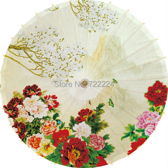 Free shipping Classical handmade colorful Blooming Peony painting oiled paper waterproof sunscreen decoration umbrella