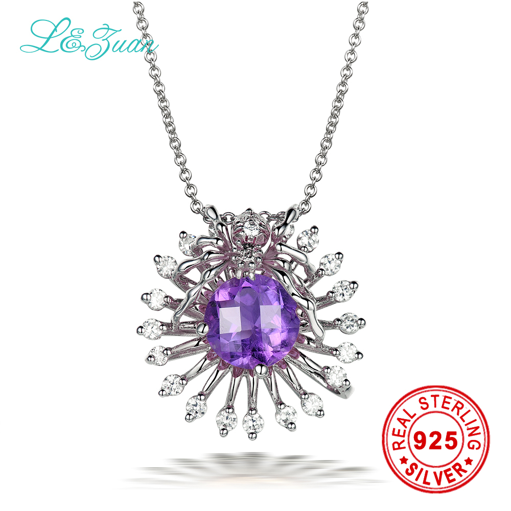 Brand Luxury 925 sterling silver natural 1.64ct Amethyst purple stone Necklace & Pendant for women
