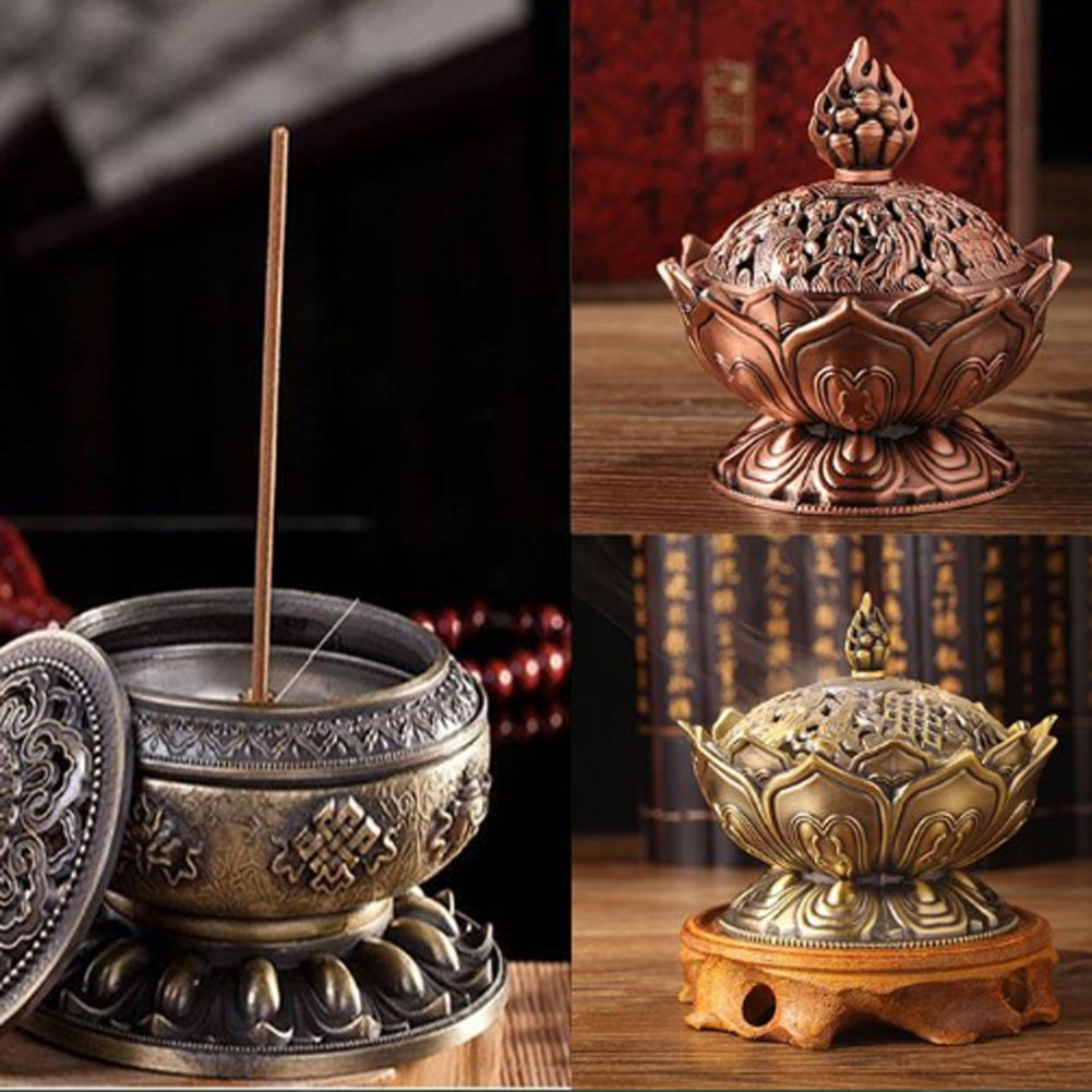 Mini Tibetan Lotus Designed Alloy Metal Bronze Craft Incense Burner Home Decor in Incense Incense Burners from Home Garden