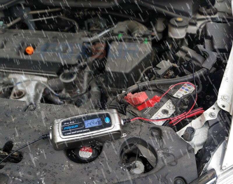 FOXSUR 12 V 4A 6 V 1A 11-stage Smart Chargeur de Batterie, 6 V 12 V EFB GEL AGM HUMIDE Batterie De Voiture Chargeur avec écran lcd et Desulfator - 6