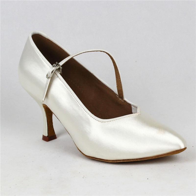 Femmes de Danse Standard BD138 Classique Blanc Satin Dames Salle De Bal chaussures de danse Doux Anti Glissé En Cuir Semelle Haute Talon Profession - 2
