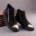 Новый кожаный суб Мартин сапоги мужские Британские короткие сапоги мужчин высокие ботинки заклепки панк сапоги прилив мужчин size39-44