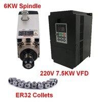 6KW 8HP 220V Square Spindle Motor Air Cooled 4pcs Bearings+7.5kw VFD inverter + ER32 Collet kit for CNC Engraving machine Router