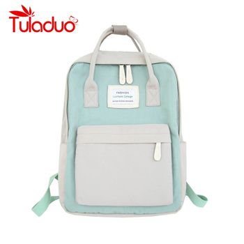 Women Hot Canvas Backpacks Candy Color Waterproof  School Bags for Teenagers Girls Laptop Backpacks Patchwork Backpack New 2019