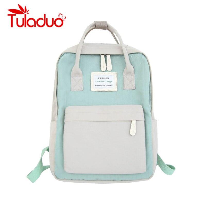 Frauen Leinwand Rucksäcke Candy Farbe Wasserdicht Schule Taschen für Jugendliche Mädchen Große Laptop Rucksack Patchwork Kanken Rucksack Neue