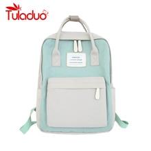 Mochila feminina impermeável de lona, nova mochila feminina impermeável feita em lona com cores pastel, ideal para transportar laptops de 2019