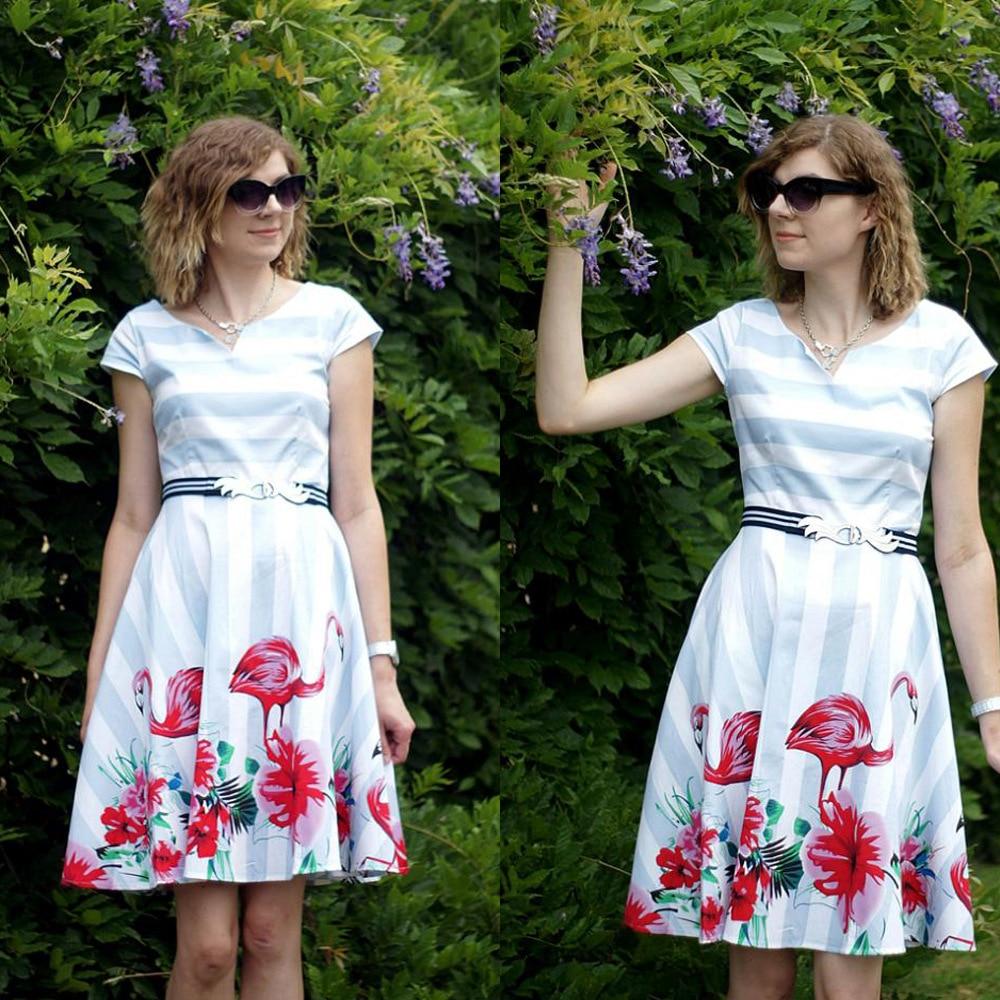 Aliexpress Buy Hgte Flamingo Print Women Vintage Dress Audrey