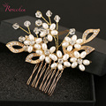 New Luxury Original Handmade Bridal Wedding Hair Pins Simulated Pearl and Rhinestone Flowers Crystal Tiara Bridal Hair CombRE304