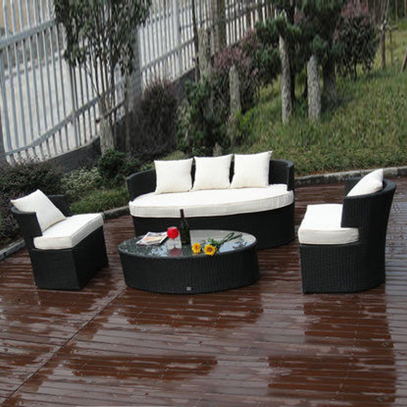 4-pcs All Weather UV Proof Outdoor Rattan Sofa For Cafe / Beach / Park