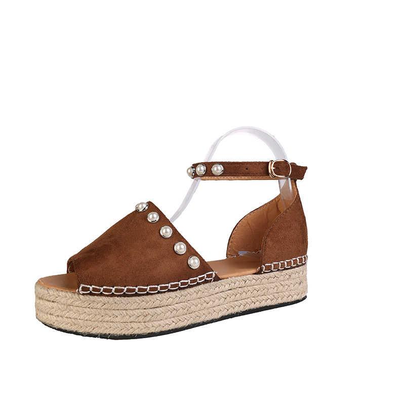 ae48d92c96 Mulheres Sapatos Alpercatas Cunha Mulheres Sandálias de Verão Peep Toe  Gladiador Sandálias Senhora Sapatos Casuais Mulheres Sandálias Plataforma  ...