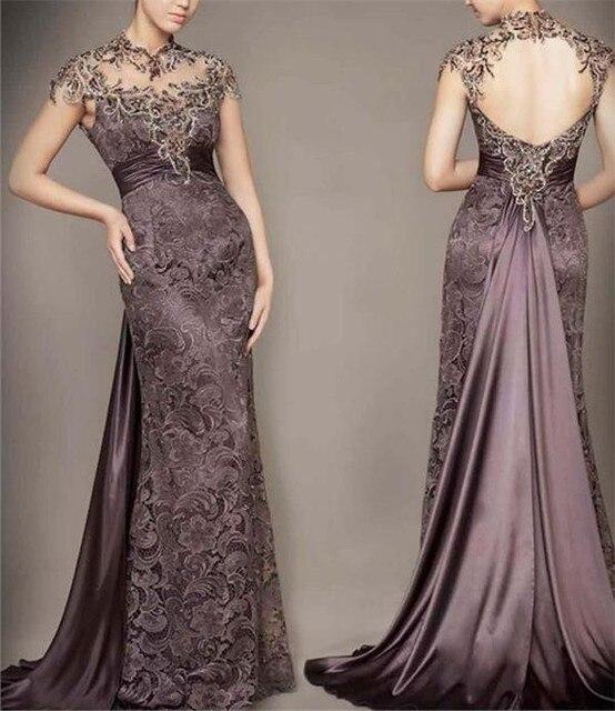 New Arrival vestido de madrinha 2016 custom Mermaid  Appliques High Neck Sleeveless Backless Lace mother of the bride dresses