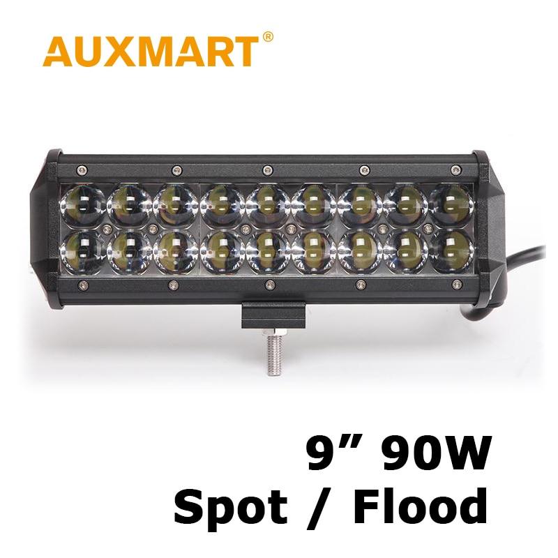 Auxmart 9 Inch 90W LED Work Light Spot/Flood Beam Offroad LED Bar Fit ATV Offroad Driving Vehicle Boat Barra 12V 24V
