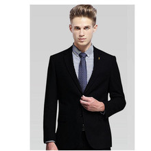 Handsome men business suits formal occasions of pure black men wedding the groom high quality fashion suit (jacket + pants)