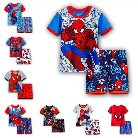 2017 Summer New Hot Kids Pajamas Baby Boys Gilrs Clothing spider-man Costume Short Sleeve Pijamas children Sleepwear Pajamas Set
