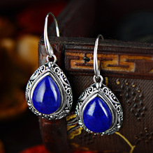 2018 Limited Jewelry, Afghanistan, Natural Lazuli, Thai Silver, Antique Hand Carved Water Drop Earrings Factory Direct Sale