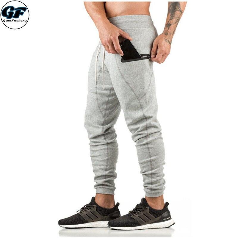 GYMFUCKERY GF Autumn Brand Men Pants Slim Fit Casual Long Pant Sportswear Cotton Mens Zip pocket Loose Navy Season Sweat Pant