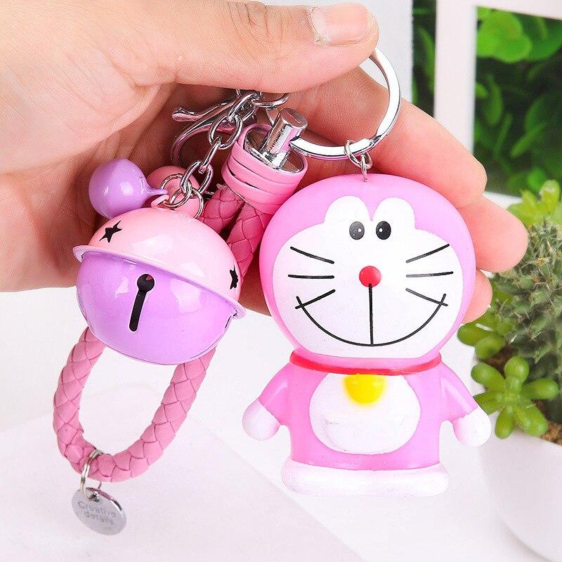 Cute Cartoon  Doraemon  Keychain For Women Bag KeyRing Car Bells Cute PVC Chaveiro Key Chain Friends Girl Jewelry Gift