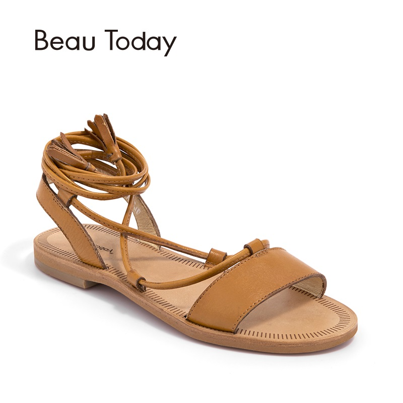 BeauToday Summer Sandals Women Brand Genuine Cow Leather Female Gladiator Ankle Strap Fringe Shoes Handmade Flat Heel 32035 female sandals summer 2017 new genuine leather women sandals flat pregnant women casual students shoes female