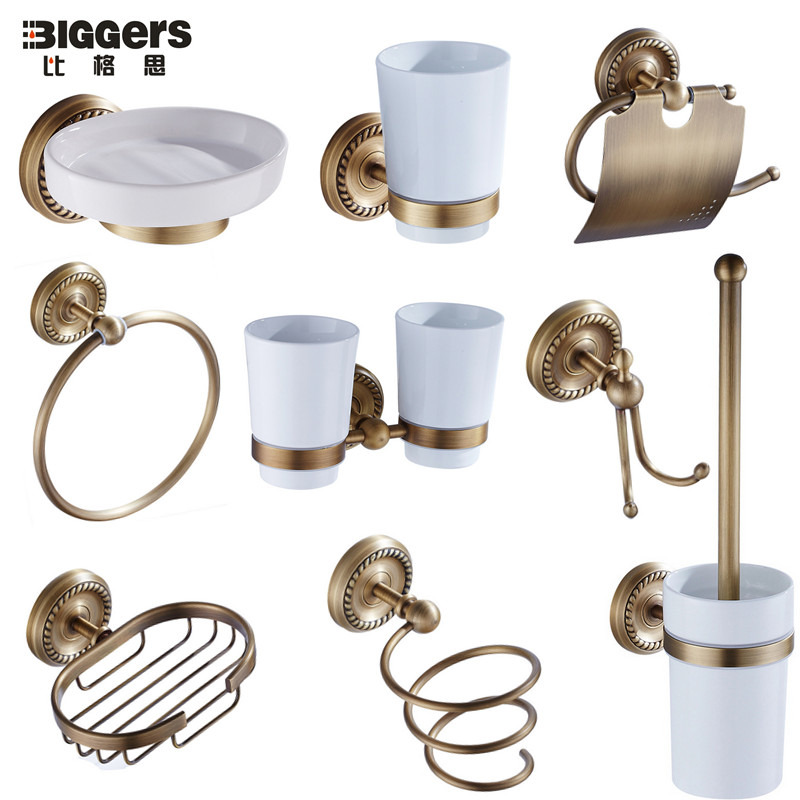 Free Shipping,European Luxury Antique Bronze Copper Bathroom Accessories  Set Towel Ring Paper Holder Soap