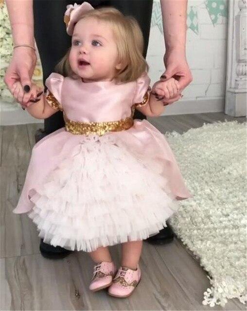 Rosa nette baby mädchen geburtstag kleid mit pailletten bogen blume ...