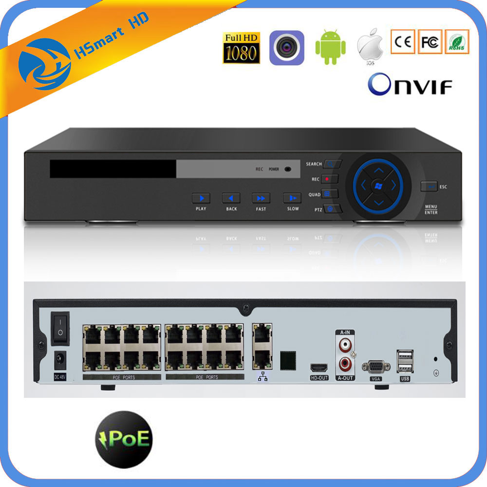 H.265 16CH 4K 48V POE NVR Para 3.0MP 4.0MP 5.0MP ONVIF IP PTZ Câmera de CCTV Sistema de Vigilância 2SATA 8CH P2P POE NVR H.264 Nuvem