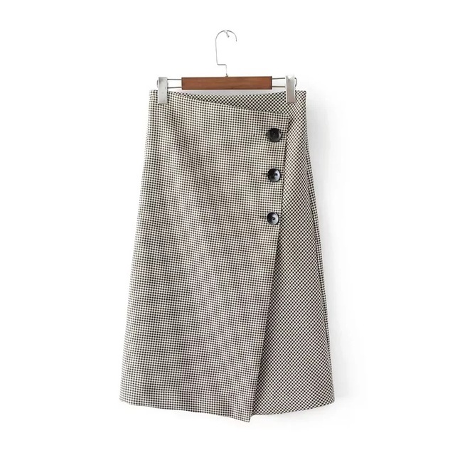 decorated office. Autumn New Fashion Couture Elegant Plaid Skirt High Waist Slim Button Decorated Office Skirts Womens Free