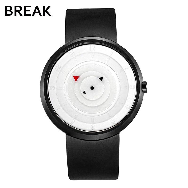 BREAK Men Unisex Creative Fashion Casual Rubber Band Sport Waterproof Quartz Watch Gift for Women Classic Black Wristwatches
