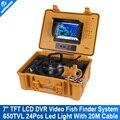 """7 """"TFT Рыбалка Finder Система С HD CCD 650TVL Подводные Видеокамера Кабель 20 М (футов) Поддержка версии 16 ГБ SD Карты"""