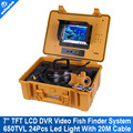 "7"" TFT Fishing Finder System With HD CCD 650TVL Underwater video Camera Recorder Cable 20M(66ft) Version Support 16GB SD Card"