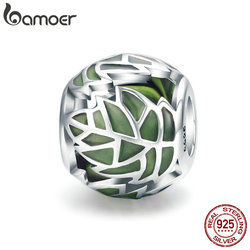 BAMOER Authentic 925 Sterling Silver Tree of Life Tree Leaves Green Enamel Beads fit Charm Bracelet for Women DIY Jewelry SCC524