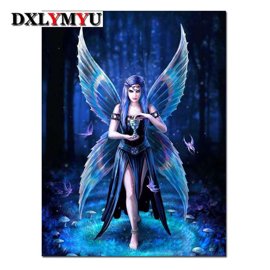 Kupu-kupu Elf Queen Diamond Bordir Kartun Dinding Seni Lukisan Berlian Cross Stitch Pola Resin Kerajinan DIY