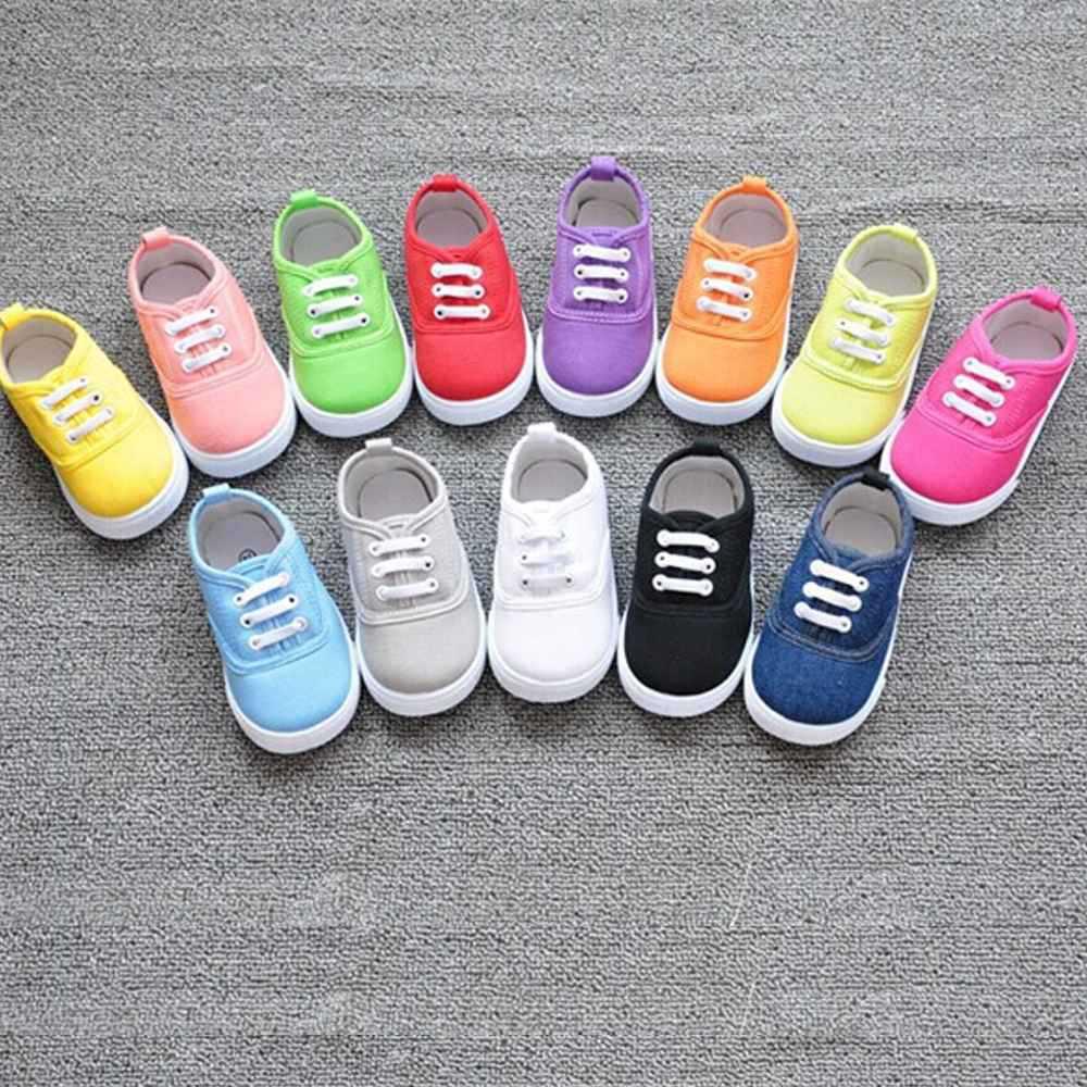 2ffcb8b1e Nuevos niñas niños moda de lona transpirable zapatillas de deporte de los  niños shoes for kids tamaño 13 17 pisos zapatos de tacón casual zapato  pequeño ...